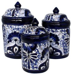 Talavera Canister Set, Blue & White, Handmade rustic-food-containers-and-storage