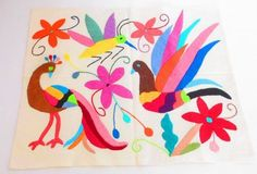 Mexican Otomi fabric, tribal fabric, embroidered, colorful Otomi embroidery from… Mexican Embroidery, Embroidery Applique, Embroidery Patterns, Mexican Fabric, Mexican Art, Mexican Style, Tribal Fabric, Peacock Fabric, Peacock Bird