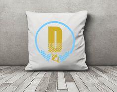 Monogrammed pillow - monogram pillow - gold shell - custom monogram by RTribeCreations on Etsy