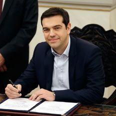 Alexis Tsipras, whose leftist party won Greece's parliamentary election Sunday on an anti-bailout platform, was sworn in as prime minister on Monday. Power To The People, Prime Minister, Greek Men, Buzzfeed News, Politicians, Wardrobes, Athens, September, Cinema