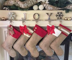 Burlap Christmas Stockings with Red Accent Cuffs - Set of Five (5) by BurlapBabe on Etsy https://www.etsy.com/listing/257215641/burlap-christmas-stockings-with-red