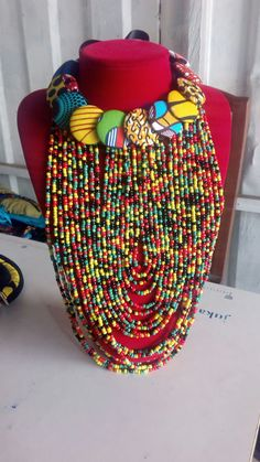 Diy African Jewelry, African Accessories, African Necklace, African Beads, Fabric Necklace, Fabric Jewelry, Diy Necklace, Necklaces, Bead Embroidery Jewelry