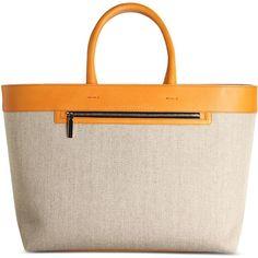 Victoria Beckham Large Fabric Bag ($389) ❤ liked on Polyvore featuring bags, handbags, orange, two tone handbags, pattern purse, print purse, orange bag and pink handbags