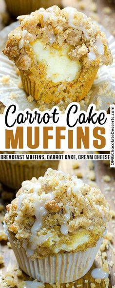 Carrot Cake Muffins Recipe With Cheesecake Fillings Moist, tender carrot muffins with soft, sweet cream cheese filling. Stuff them with a sweet cream cheese filling and these muffins disappear in a hurry! Moist Carrot Cakes, Carrot Cake Muffins, Carrot Cake Cupcakes, Muffin Recipes, Baking Recipes, Dessert Recipes, Cupcake Recipes, Cupcake Ideas, Cookie Ideas