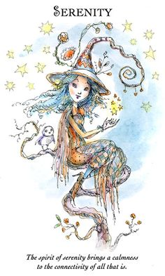 """☆ Witchling: Serenity """"The spirit of serenity brings a calmness to the connectivity of all that is."""" -::- Artist Paulina Cassidy ☆"""