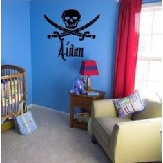 Calico Jack Pirate decal with personalized name Nursery, kids bedroom Decor, Home Diy, Nursery, Personalized Nursery, Home Decor Decals, Pirate Room Decor, Home Decor, Kids Room Decals, Big Boy Room