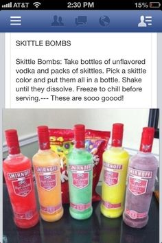 Put skittles in unflavored vodka and freeze them for yummy skittle flavored vodka Liquor Drinks, Cocktail Drinks, Beverages, Candy Drinks, Vodka Cocktails, Mixed Drinks Alcohol, Alcohol Drink Recipes, Party Drinks Alcohol, Mixed Alcoholic Drinks