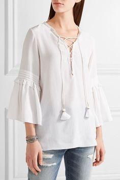 Figue - Poet Lace-up Silk-chiffon Blouse - White - x large