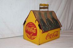 Rare-Unusual-Vintage-1940-039-s-Wood-Coca-Cola-Soda-Pop-6-Bottle-Carrier-Sign