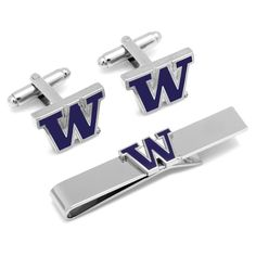 College Jewelry University of Washington Huskies Cufflinks Natural Finish Sterling Silver Round Top Cufflinks