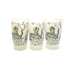 White frosted drinking glasses Rickshaw by Reconstitutions on Etsy