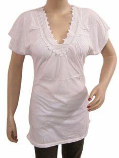 b08f16fda46 Modern Boho, Cotton Tunics, Summer Wear, Cap Sleeves, Sheer Fabrics, White  Lace, Neckline, Blouse, V Neck