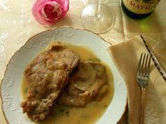 El delantal rojo: Chuletas de aguja de cerdo en salsa de sidra