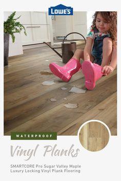 Go waterproof with trending, easy-to-install flooring styles in stock now at Lowe& Vinyl Wood Planks, Vinyl Plank Flooring, Basement Flooring, Basement Remodeling, Laminate Flooring, Luxury Vinyl Flooring, Luxury Vinyl Plank, Wood Floor Colors, Doors And Floors