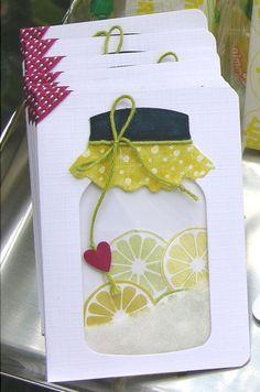 Hannas Art: Schüttelkarten - Swaps need to do that with Spellbinders country charm die and quickutz citrus slide dies. Pot Mason, Mason Jars, Cute Cards, Diy Cards, Scrapbook Cards, Scrapbooking, Mason Jar Cards, Shaker Cards, Card Tags
