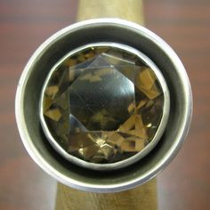 Modernist RING Sterling Silver & Smoky Quartz sz 75 by HighArt. , via Etsy.