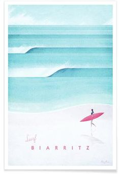 Les Pyrénées as Poster by Henry Rivers Art Mural, Zermatt, Ski France, Deco Surf, Street Mural, Modern Aesthetics, Biarritz, Miami, Vintage California