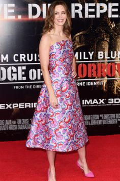 Edge Of Tomorrow premiere, London - May 28 2014 Emily Blunt in a dress by Osman and shoes by Kurt Geiger.