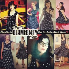 Just a few of our lovely customers showing off our #exclusive Heidi dress made just for us (and just for you!) ❤ We are running low and may not get more so don't wait too long to get yours! In store or online now #blamebetty #pinup #pinupgirlclothing #pug #heididress #yyc #weloveourcusties