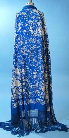 *REPIN* Antique Spanish Manton de Manilla Sapphire Blue Shawl