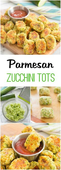 Parmesan Zucchini Tots. Easy, healthy and fun! 400* 20 minutes. 1 1/2 cups shredded and lightly patted dry zucchini (about 1 1/2 medium zucchini) 1 cup Italian seasoned panko bread crumbs (if you use non-seasoned panko bread crumbs, make sure to add Italian seasoning to your mix) 1/2 cup shredded parmesan cheese 1 large egg
