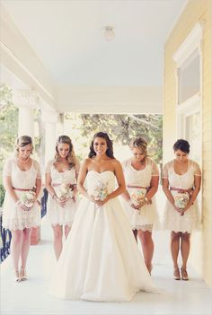 Urban Outfitters Bridesmaid dresses.  Bride's dress: Galina- David's Bridal (only $499 Can you believe it??!?) GORGEOUS.