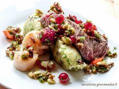 Seared Beef Fillet and Scallop + Raspberry, Dried Tomato, Raisin, Fig and Currant Salsa with Almond and Pine Nuts + Olive Mash with Cilantro (sub rutabaga/celeriac/turnip for potato) Potato Rice, Baked Potato, Potato Salad, Salsa Aux Fruits, Beef Fillet, Surf And Turf, Celeriac, Healthy Grains, Healthy Sugar