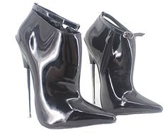 Wonderheel 7 metal heel pointed toe ankle boots black patent sexy ankle strap boots ** Visit the image link more details. (This is an affiliate link) Sexy Boots, Black Ankle Boots, High Heel Boots, Ankle Booties, Heeled Boots, Bootie Boots, Extreme High Heels, Killer Heels, Short Boots