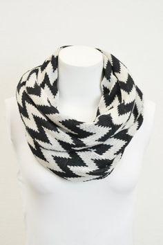 Cozy Knit Chevron Infinity Scarf Black and White by RadandLux, $19.99