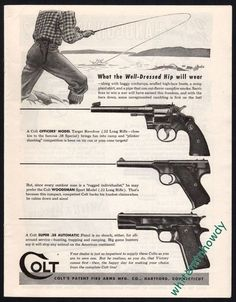 1945 COLT Officers Model REVOLVER Woodsman Sport & Super .38 Automatic PISTOL AD