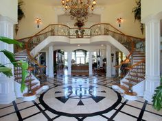 Dramatic Staircase inside a Magnificent Mansion in Tennessee