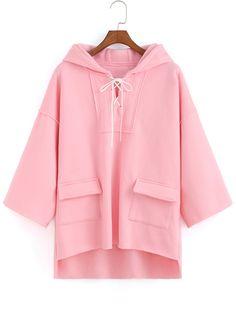Pink Hooded Bandage Pockets Dip Hem Sweatshirt 19.57