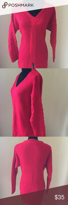 """SALE 12/5-12/20 Fashion Knitted Sweater- Red Woman Pullover V-neck Cute and Casual Wool knitted sweater. Measurements: Sleeve= 28"""" From Neck to wrist, Length= 30"""" From shoulder to hem, Bust= 22"""" Laid flat one sided. Sweaters V-Necks"""