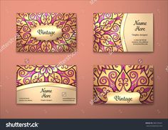 Vector Vintage Visiting Card Set. Floral Mandala Pattern And Ornaments. Oriental Design Layout. Islam, Arabic, Indian, Ottoman Motifs. Front Page And Back Page. - 386735641 : Shutterstock