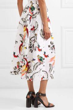 Erdem - Elena Pleated Printed Cotton-poplin Midi Skirt - White