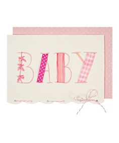 Take a look at this Pink Ribbon Baby Shower Card by Meri Meri on #zulily today!