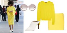 Dsquared 2 Slim Yellow Skirt, $190; jades24.com Christopher Kane Yellow Sweater, $225; shop similar: barneys.com Prada Round Sunglasses, $250; shop similar: forzieri.com Lanvin Leather Mule Slide, $950; neimanmarcus.com