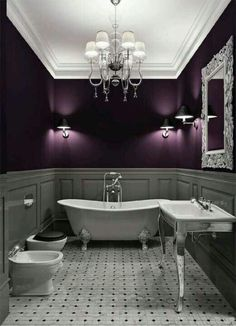 LOVE this purple...and if I have everything else white and Gray it just might work in my new bathroom!!!