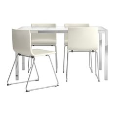 torsby bernhard table and 4 chairs glass white kavat white