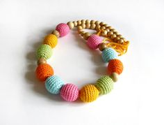 Sale! Multicolor necklace - Crochet Necklace for mom and child