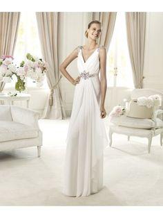 Elegant Beading A-line V-neck Floor-length Chiffon Straps Wedding Dresses