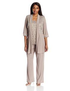 R&M Richards Women's Plus Size Lace Pant Set, Mocha, 14W