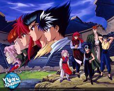 Team Urameshi at the Dark Tournament.  Yusuke, Genkai, Kuwabara, Hiei, Kurama.