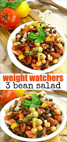 Weight Watchers 3 Bean Salad Recipe Weight Watchers 3 Bohnensalat Rezept Source by . Weight Watchers Chili, Weight Watchers Pasta, Weight Watchers Vegetarian, Weight Watchers Snacks, Weight Watcher Dinners, 3 Bean Salad, Bean Salad Recipes, Ww Recipes, Vegetarian Recipes