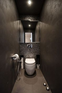 This Attic Apartment's Design Makes It A European Penthouse #refinery29  http://www.refinery29.com/design-milk/10#slide-9  The bathrooms are dark and moody, which I love. ...