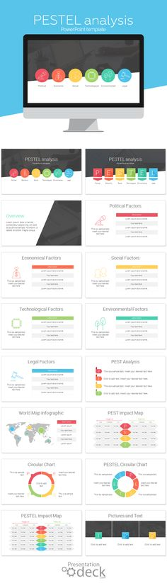 PESTEL / PEST PowerPoint template with 16 pre-designed slides in flat design style. This template is handy to analyses from many different angles any product or service. PESTEL is a strategic framework to get an overview of the different macro-environmental factors.