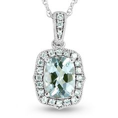 OMG...GORGEOUS! Me & my 1st born daughter's birthstone! Santa should bring one for each of us! ;)  White Sapphire and Aquamarine Necklace in 10k White Gold. This vintage inspired aquamarine necklace show cases a 8x6mm cushion cut aquamarine surrounded by sparkling white sapphires set in 10k white gold filigree pendant.