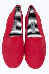Canvas upper for easy on and off Cushioned insole for comfort Latex arch insert for added support One-piece mixed-rubber outsole for resilience, flexibility and Red Flats, Red Shoes, Footwear, Slip On, Running, Canvas, Final Sale, Sneakers, Shopping