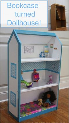 Turn a bookcase into a dollhouse, or for a boy, 1 level would be jungle, another a race track, and the last a farm.