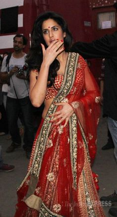Katrina Kaif was all dressed up in a red and gold lehenga snapped at Mehboob Studio. #Style #Bollywood #Fashion #Beauty